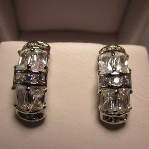 Interesting Silver and CZ Earrings